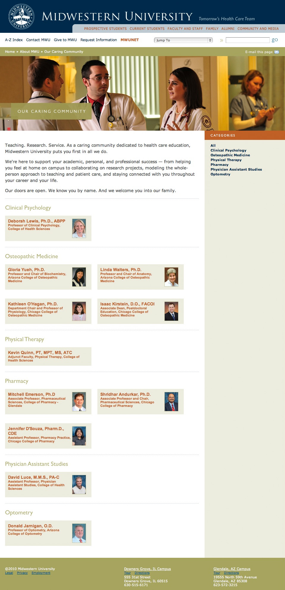 Midwestern University Website